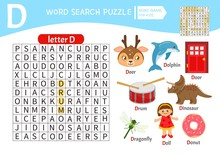 Words Puzzle Children Educational Game. Learning Vocabulary. Letter D. Cartoon Objects On A Letter D.