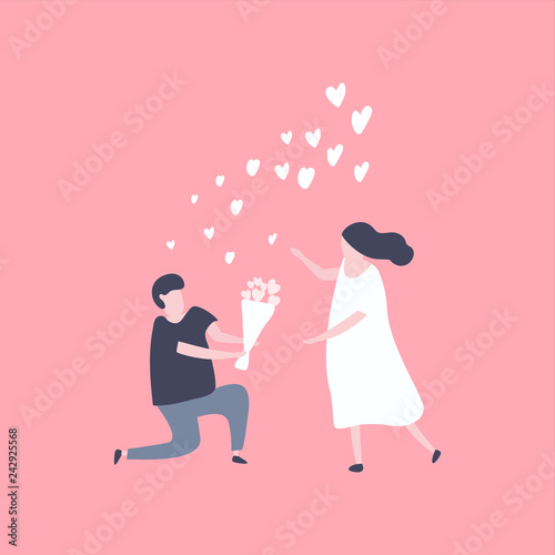 Man kneeling down and give flower to pretty woman Wallpaper Mural