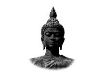 Beautiful Black Stone Buddha Head On White Background.