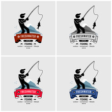 Fishing Logo Design. Fisherman Caught A Fish From The Freshwater With His Fishing Rod.