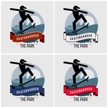 Skateboarder Club Logo Design. Vector Artwork For Professional Skateboarding Sport.