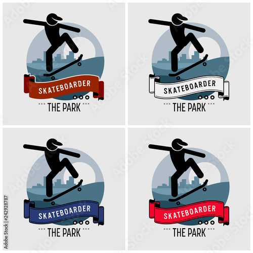 Skateboarder club logo design. Vector artwork for professional skateboarding sport.