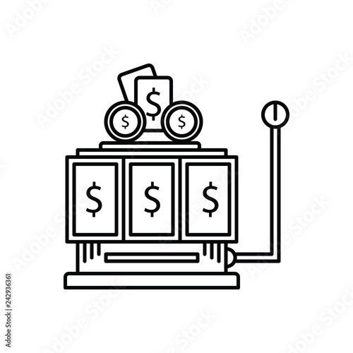 фотография  Black line icon for gambling