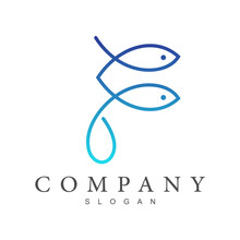 Fish Line Logo, Letter F With Fish Shape Logo