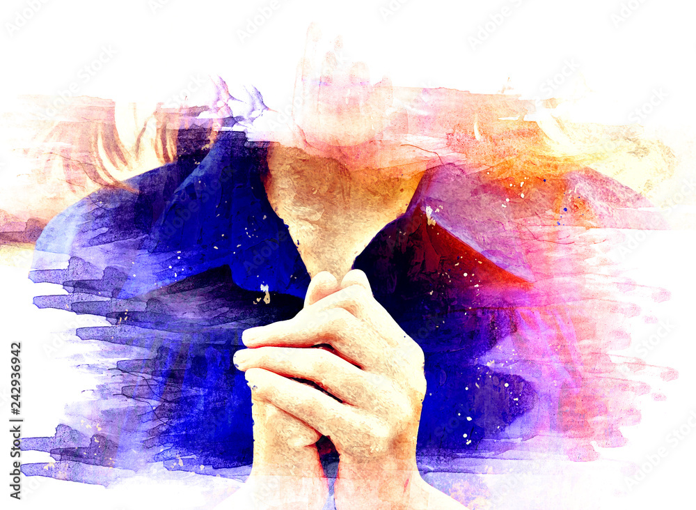 Fototapety, obrazy: Beautiful Asia women portrait are praying and blessing on watercolor illustration painting background.