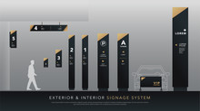Exterior And Interior Signage System. Direction, Pole, Wall Mount Signboard And Traffic Signage Design Template Set. Empty Space For Logo, Text, White And Gold Corporate Identity