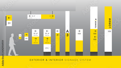 exterior and interior signage system  direction, pole, wall