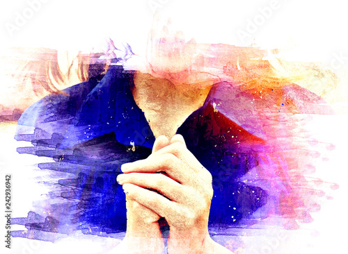 Foto Beautiful Asia women portrait are praying and blessing on watercolor illustration painting background