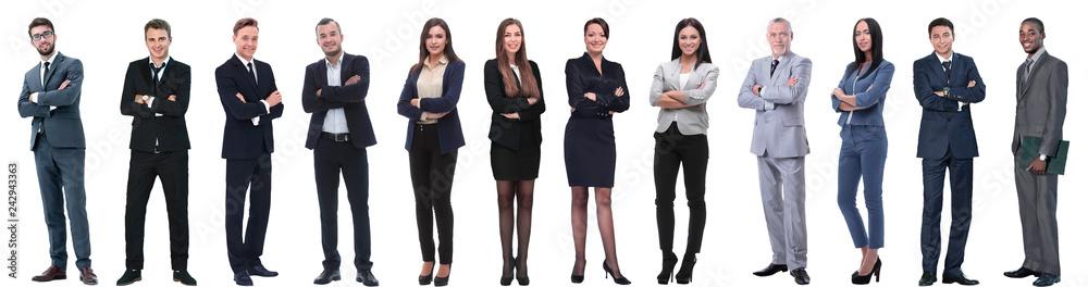 Leinwandbild Motiv - ASDF : group of successful business people isolated on white