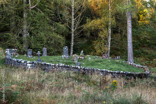 Fotografie, Obraz  Old Graveyard with Graves of Stone in Loch Garry Highlands in Scotland