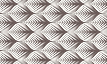 Geometric Pattern. Linear Roof Tiling Or Fish Scale Shapes Motif Or Leaf Leaves And Flower. Pattern Is On Swatches Panel
