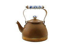 Old Copper Tea Kettle Isolated...
