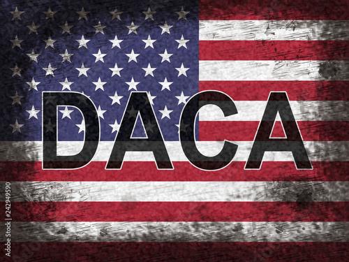 Photo Daca Kids Dreamer Legislation Flag For Us Immigration - 2d Illustration