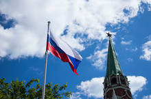 Flag Of Russia Against The Kremlin