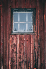 Old Window On Wooden Wall
