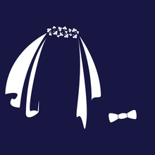 Icon Symbols Of The Bride And Groom.Stylized Graphic Illustration For Wedding Design. Isolated Vector On Blue Background.