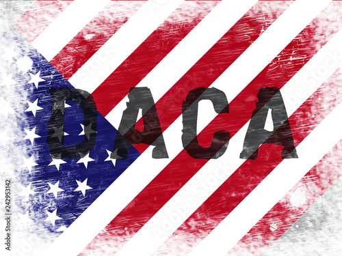 Daca Kids Dreamer Legislation Flag For Us Immigration - 2d Illustration Canvas Print