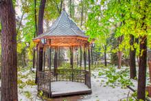 Scenery With Gazebo In Snowy Green Park