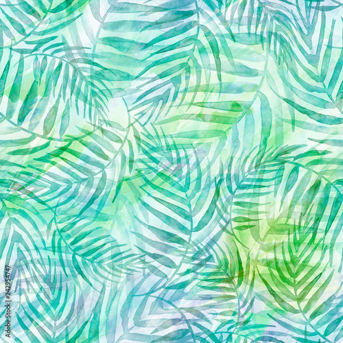 Ingelijste posters Tropische Bladeren Seamless watercolor background from green tropical leaves, palm leaf, floral pattern. Bright Rapport for Paper, Textile, Wallpaper, design. Tropical leaves watercolor. Exotic tropical palm tree