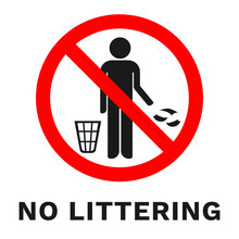 NO LITTERING Sign. Sticker With Inscription. Vector.