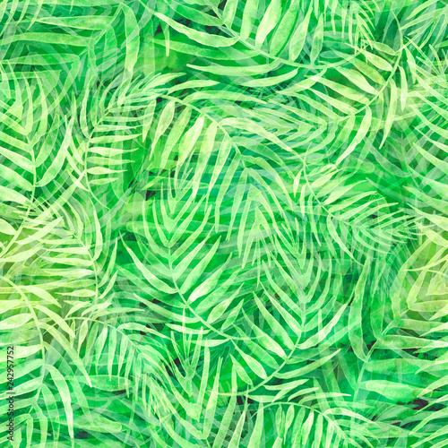 Spoed Fotobehang Tropische Bladeren Seamless watercolor background from green tropical leaves, palm leaf, floral pattern. Bright Rapport for Paper, Textile, Wallpaper, design. Tropical leaves watercolor. Exotic tropical palm tree
