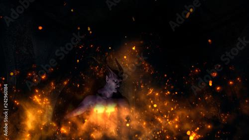 Fotografie, Obraz  Fallen angel satan in a crypt at fire