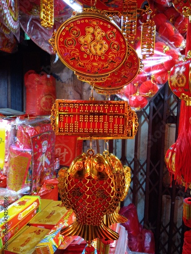 Fotografia, Obraz  Chinese red decorations with gold characters
