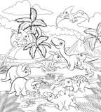 Fototapeta Dinusie - A dinosaur cartoon cute animal background prehistoric landscape coloring outline scene.