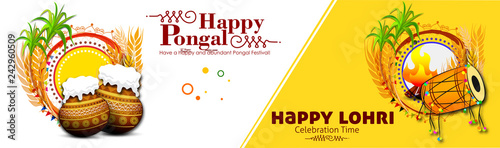Obraz na plátně Happy pongal and lohri festival banner header indian harvesting festival vector illustration with pot and dhol