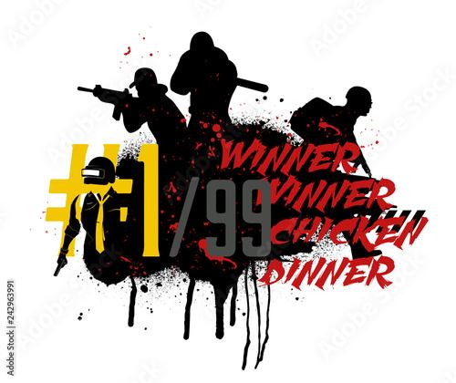 Fotografija Playerunknown's Battlegrounds ( PUBG ) Poster and phrase from the game - winner winner chicken dinner