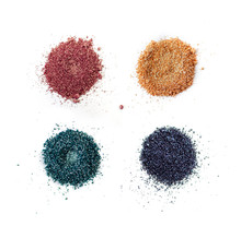 A Set Of Color Pigments In Different Shades, Pigment Powder Close Up, Glitter Eyeshadow / Mica. Isolated On A White Background, Top View.