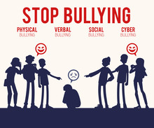 Vector Concept Of Bullying And Teen Harassment. Lonely Young Man Victim Silhouette Sitting Holding Knees With Sad Face With Male, Female Student Viciously Laughing Pointing To Him, Making Photo.