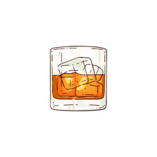 Vector Whiskey Or Rum Glass Wi...