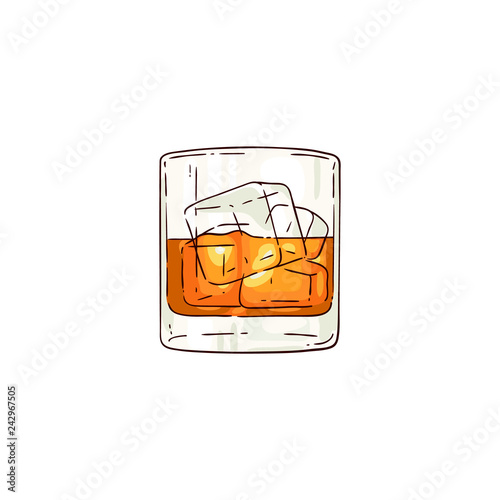 Vector whiskey or rum glass with ice cubes sketch icon Fototapet