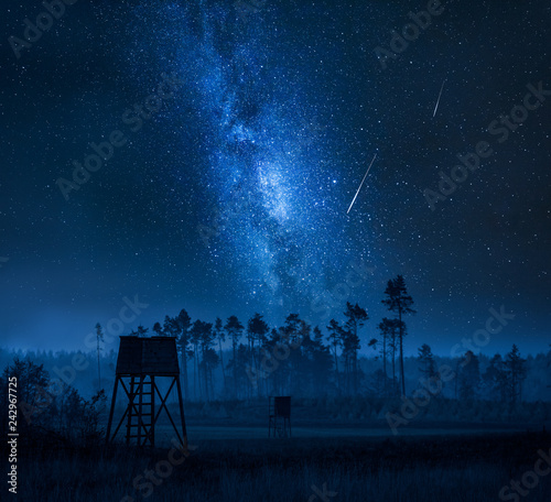 Milky way over shooting tower and forest at night