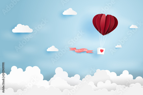 Heart air balloon made origami float over blue sky,Paper art style Poster Mural XXL