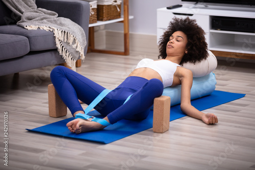 Canvas Relaxed Young Woman Doing Exercise