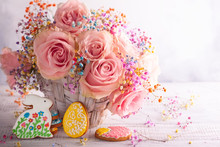 Easter Composition With Flowers And Cookies.