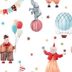 Panel Szklany Podświetlane Do pokoju dziecka Watercolor circus pattern