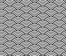Wave Pattern, Black And White Chinese Seamless Pattern, Apanese Traditional Background