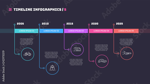 Αφίσα  Thin line timeline minimal infographic concept with fve periods