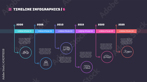 Thin line timeline minimal infographic concept with six periods Canvas Print