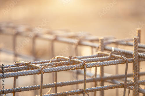 Fotografia Rebar steel for Grade Beam/Ground beam in process of house building
