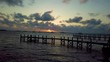 Aerial drone view of jetty at sunrise Bahamas
