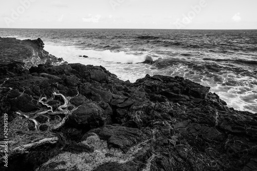 Fotografiet  Black and white photo strong wave of white sea beats on the rocks