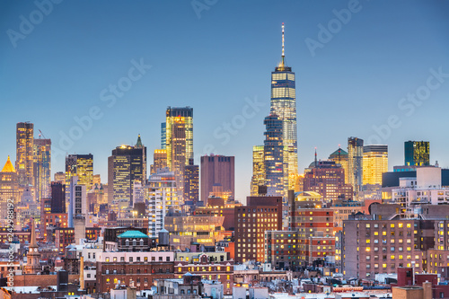 Photo Stands New York New York, New York cityscape at dusk