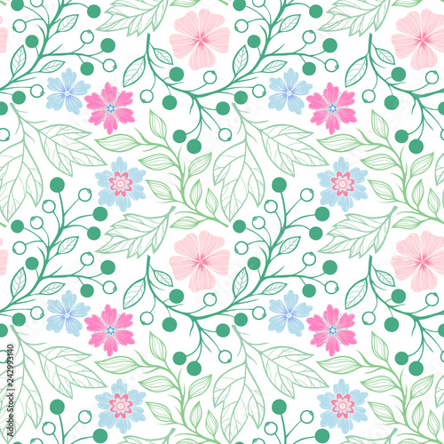 Fototapety, obrazy: Seamless pattern.Spring pattern with leaves,berries and flowers.Hand drawn stylized elements. Decorative background for greeting cards, prints, flyer, banners and more.Vector illustration.