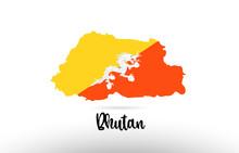 Bhutan Country Flag Inside Map Contour Design Icon Logo