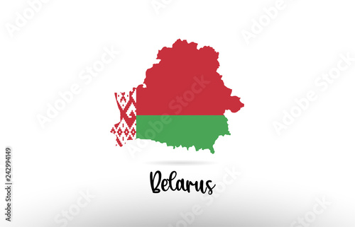 Photo Belarus country flag inside map contour design icon logo