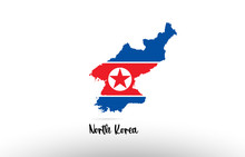 North Korea Country Flag Inside Map Contour Design Icon Logo